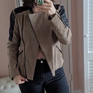 Only Suede and leather moto jacket